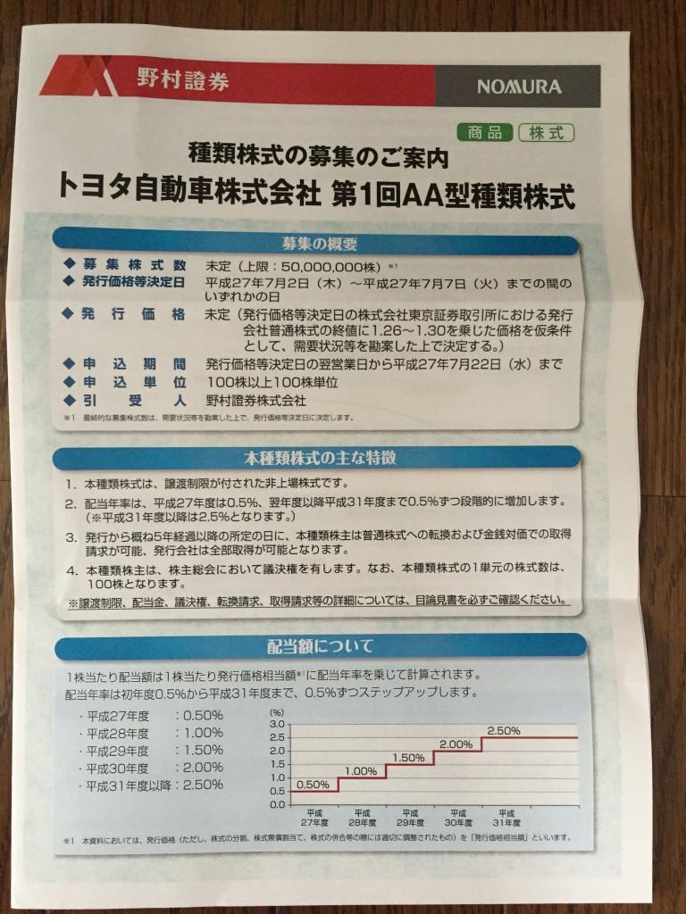 トヨタ 新株 パンフレット1