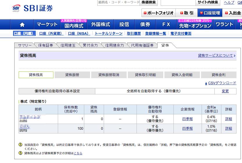 SBI証券 貸株 9