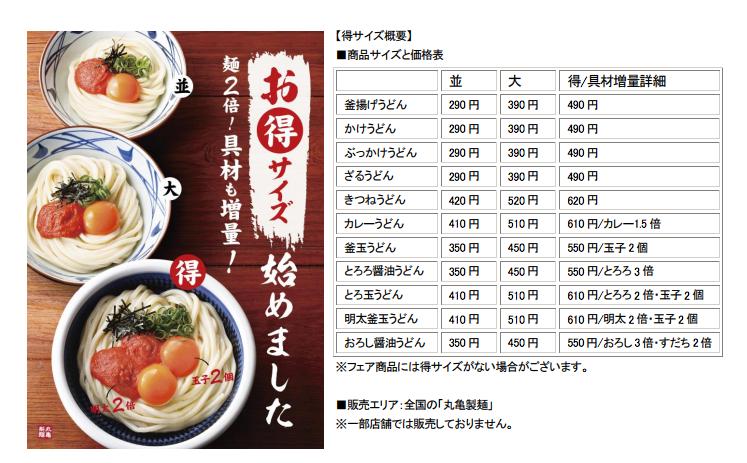 丸亀製麺 得サイズ