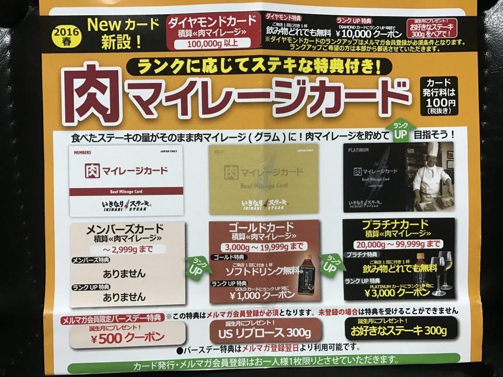 いきなりステーキ 肉マイレージカード 2