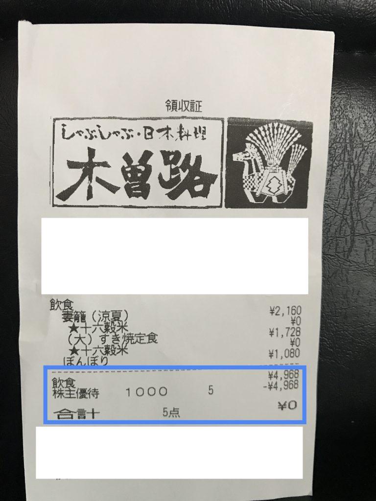 木曽路 株主優待 会計