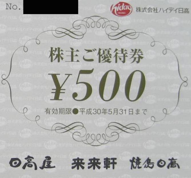 ハイデイ日高 株主優待券